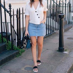 Topshop Raw Hem Denim Mini Skirt